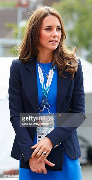 Catherine Duchess of Cambridge arrives at Hampden Park to watch the athletics during the 20th Commonwealth Games on July 29 2014 in Glasgow Scotland