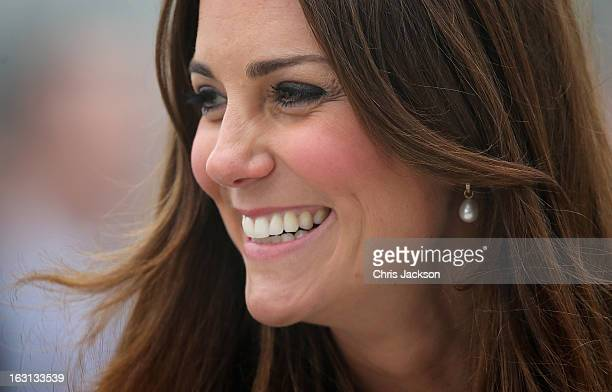 Catherine Duchess of Cambridge arrives at Havelock Academy on March 5 2013 in Grimsby England The pregnant Duchess of Cambridge is spending the day...