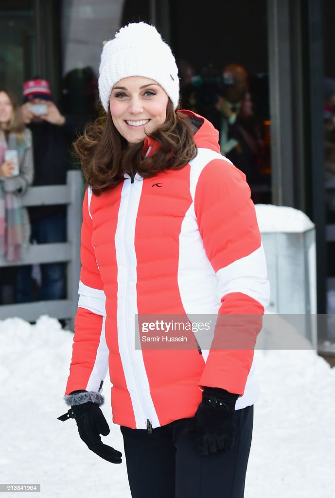 Catherine, Duchess of Cambridge arrives at Holmenkollen ski jump, where she and Prince William, Duke of Cambridge, will take a short tour of the museum before ascending to the top of ski jump to talk with and observe junior ski jumpers from Norway's national team on day 4 of their visit to Sweden and Norway on February 2, 2018 in Oslo, Norway.