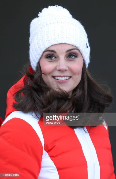 Catherine Duchess of Cambridge arrives at Holmenkollen ski jump where she and Prince William Duke of Cambridge will take a short tour of the museum...