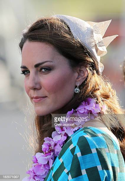Catherine Duchess of Cambridge arrives at Honiara International Airport on day 6 of the royal couple's Diamond Jubilee tour of the Far East on...