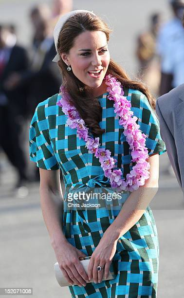 Catherine, Duchess of Cambridge arrives at Honiara International Airport on day 6 of the royal couple's Diamond Jubilee tour of the Far East on...
