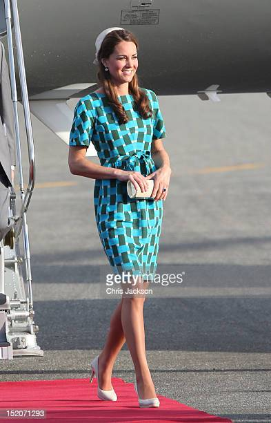 Catherine Duchess of Cambridge arrives at Honiara International Airport during their Diamond Jubilee tour of the Far East on September 16 2012 in...