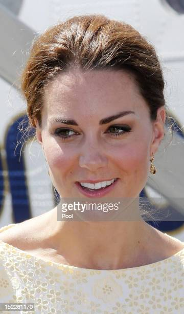 Catherine, Duchess of Cambridge arrives at Honiara International airport after flying from Marau before heading to Tuvalu on their Diamond Jubilee...