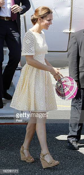Catherine Duchess of Cambridge arrives at Honiara International airport after flying from Marau before heading to Tuvalu on their Diamond Jubilee...