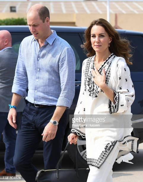 Catherine, Duchess of Cambridge arrives at Lahore airport with Prince William, Duke of Cambridge to take their flight back to Islamabad during their...
