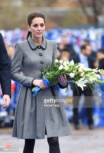 Catherine Duchess of Cambridge arrives at Leicester City Football Club to pay tribute to those who were tragically killed in the helicopter crash at...