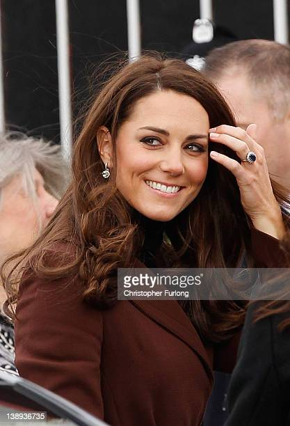 Catherine Duchess of Cambridge arrives at Liverpool charity The Brink on February 14 2012 in Liverpool England Catherine The Duchess of Cambridge is...