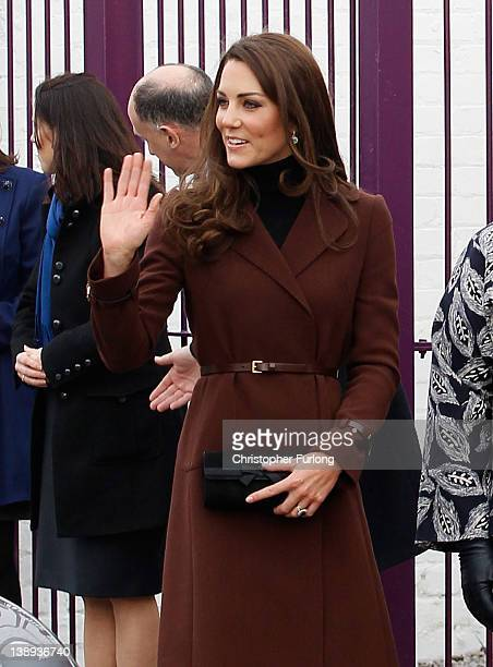 Catherine, Duchess of Cambridge arrives at Liverpool charity The Brink on February 14, 2012 in Liverpool, England. Catherine, The Duchess of...
