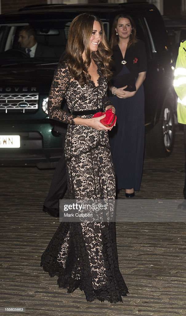 Catherine, Duchess of Cambridge arrives at Middle Temple Hall in support of the University of St Andrews' 600th Anniversary Campaign on November 8, 2012 in London, England.
