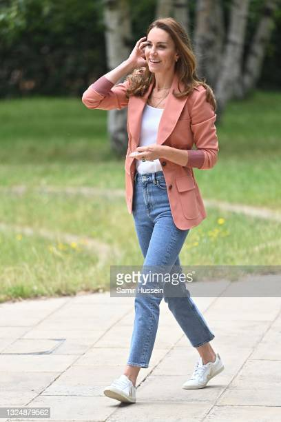 Catherine, Duchess of Cambridge arrives at Natural History Museum to see the urban nature project on June 22, 2021 in London, England.