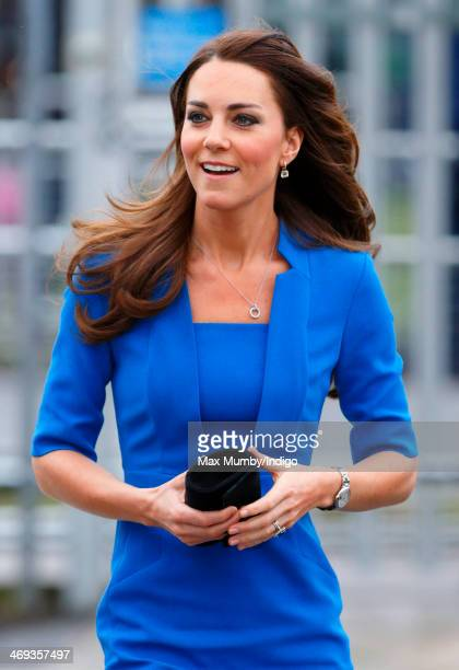 Catherine Duchess of Cambridge arrives at Northolt High School to officially open The ICAP Art Room on February 14 2014 in Ealing England