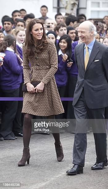 Catherine Duchess of Cambridge arrives at Oxford Spires Academy on February 21 2012 in Oxford England Catherine Duchess of Cambridge as patron of...