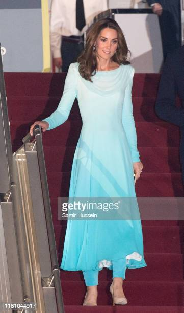 Catherine, Duchess of Cambridge arrives at Pakistani Air Force Base Nur Khan on October 14, 2019 in Rawalpindi, Pakistan. Their Royal Highnesses The...