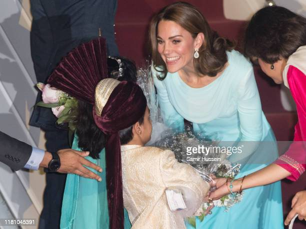 Catherine Duchess of Cambridge arrives at Pakistani Air Force Base Nur Khan on October 14 2019 in Rawalpindi Pakistan Their Royal Highnesses The Duke...