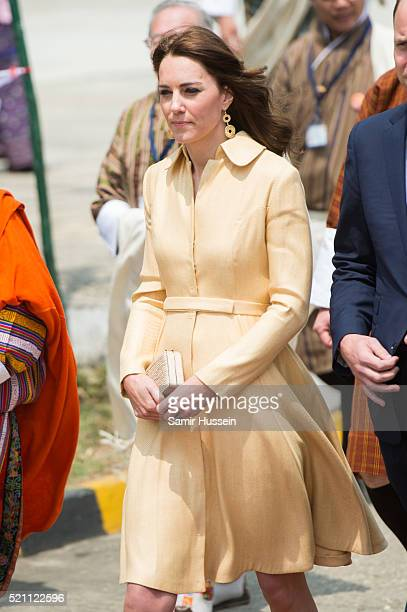 Catherine Duchess of Cambridge arrives at Paro International Airport for a Cermonial Welcome on April 14 2016 in Thimphu Bhutan