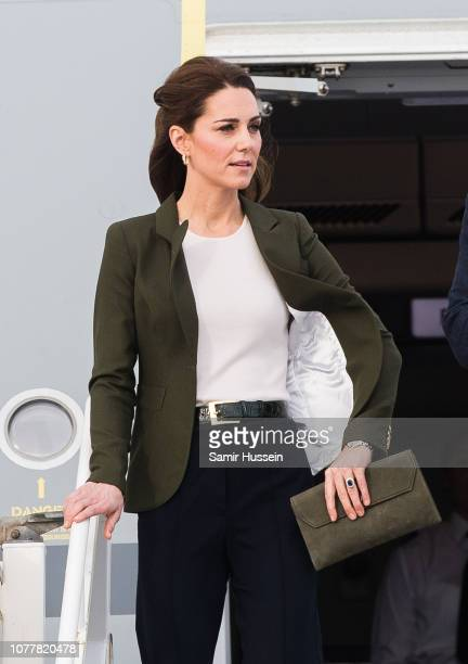 Catherine, Duchess of Cambridge arrives at RAF Akrotiri to meet with serving personnel, families living on the base and members of the local...