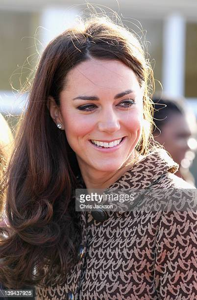 Catherine, Duchess of Cambridge arrives at Rose Hill Primary School during a visit to Oxford on February 21, 2012 in Oxford, England. The visit is in...