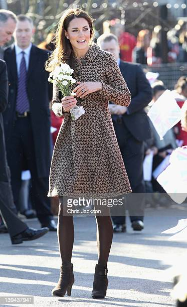 Catherine Duchess of Cambridge arrives at Rose Hill Primary School during a visit to Oxford on February 21 2012 in Oxford England The visit is in...