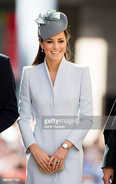 Catherine Duchess of Cambridge arrives at St Andrew's Cathedral for a Easter Sunday Service on April 20 2014 in Sydney Australia The Duke and Duchess...