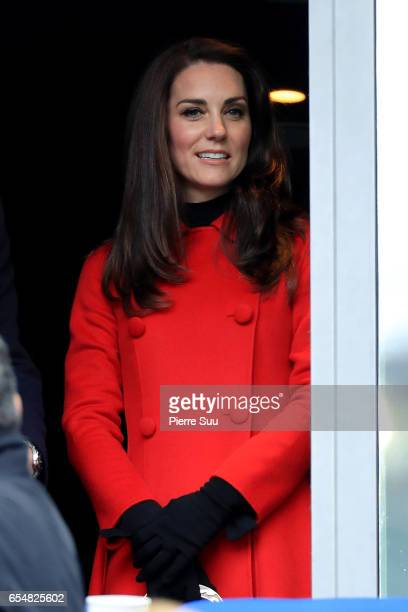 Catherine Duchess of Cambridge arrives at Stade de France for the France v Wales - RBS Six Nations match on March 18, 2017 in Paris, France.