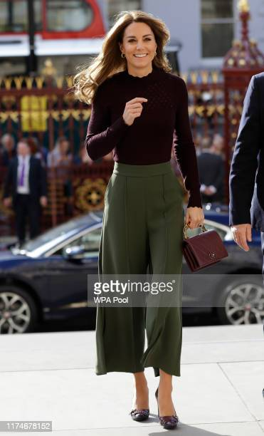 Catherine Duchess of Cambridge arrives at The Angela Marmont Centre For UK Biodiversity at Natural History Museum on October 9 2019 in London England...