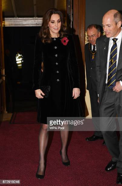 Catherine Duchess of Cambridge arrives at the annual Royal Festival of Remembrance to commemorate all those who have lost their lives in conflicts at...