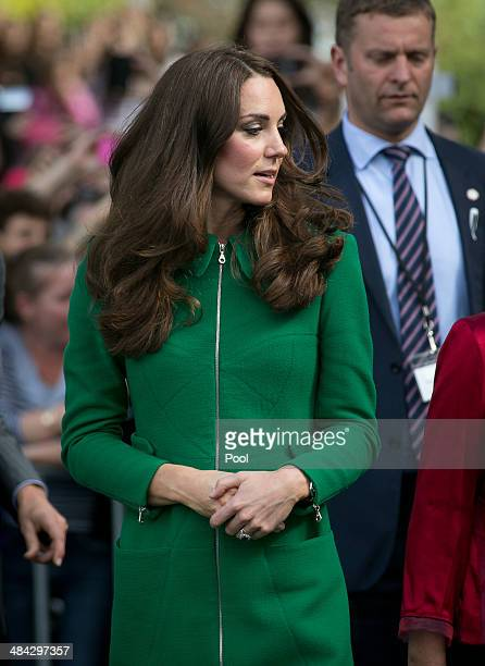Catherine Duchess of Cambridge arrives at the Cambridge Town Hall on April 12 2014 in Cambridge New Zealand The Duke and Duchess of Cambridge are on...