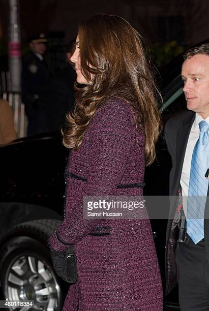 Catherine Duchess of Cambridge arrives at The Carlyle Hotel where they will be staying during their official twoday visit to the United States on...