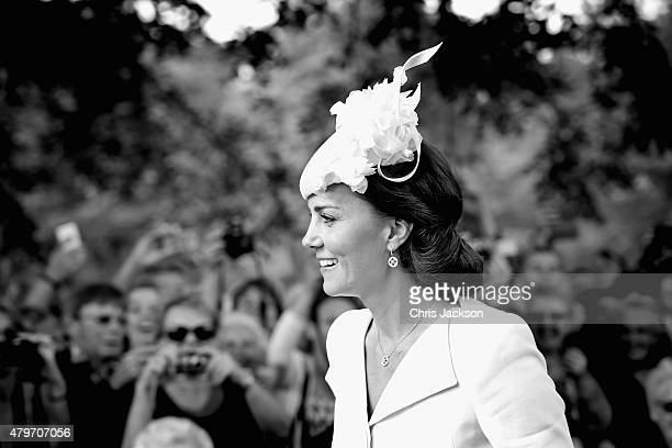 Catherine Duchess of Cambridge arrives at the Church of St Mary Magdalene on the Sandringham Estate for the Christening of Princess Charlotte of...