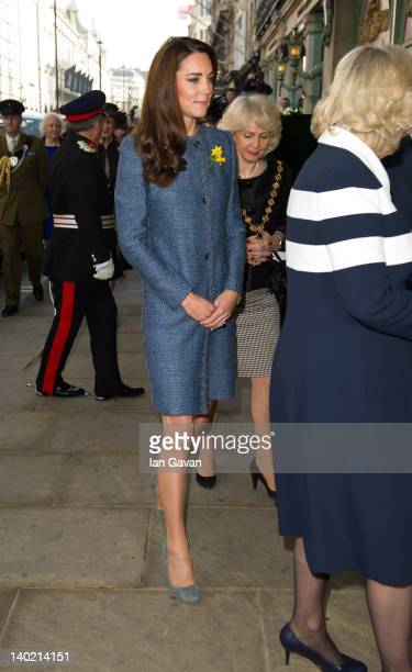 Catherine Duchess Of Cambridge arrives at the Fortnum and Mason Store on March 1st in London England Queen Elizabeth II accompanied by the Duchess of...