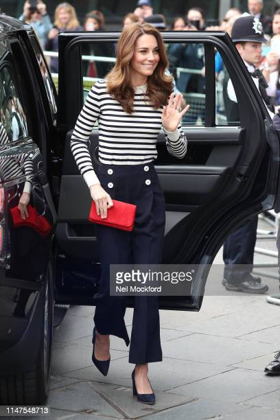 Catherine Duchess of Cambridge arrives at the launch of The King's Cup Regatta at The Cutty Sark Greenwich on May 07 2019 in London England
