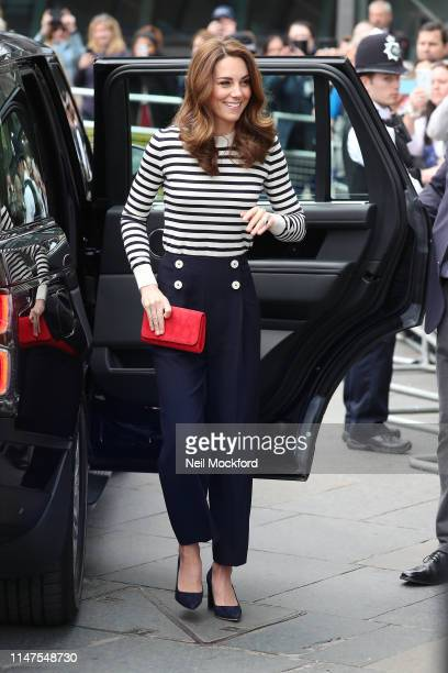 Catherine, Duchess of Cambridge arrives at the launch of The King's Cup Regatta at The Cutty Sark, Greenwich on May 07, 2019 in London, England.