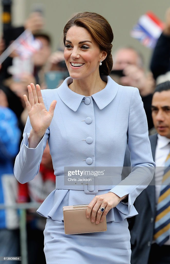 Catherine, Duchess of Cambridge arrives at the Mauritshuis Gallery during a solo visit to the Hague on October 11, 2016 in the Hague, Netherlands