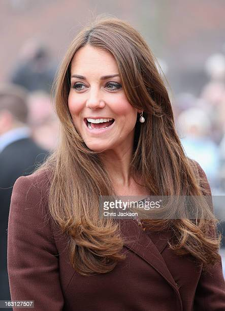 Catherine Duchess of Cambridge arrives at the National Fishing Heritage Centre on March 5 2013 in Grimsby England The pregnant Duchess of Cambridge...