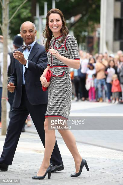 Catherine, Duchess of Cambridge arrives at the new V&A exhibition road quarter at Victoria & Albert Museum on June 29, 2017 in London, England. The...