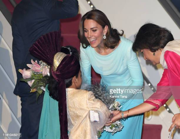 Catherine Duchess of Cambridge arrives at the Pakistani Air Force Base Nur Khan with Prince William Duke of Cambridge to start their Royal Tour of...