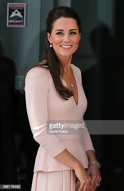 Catherine, Duchess of Cambridge arrives at the Playford Civic Centre on April 23, 2014 in Adelaide, Australia. The Duke and Duchess of Cambridge are...
