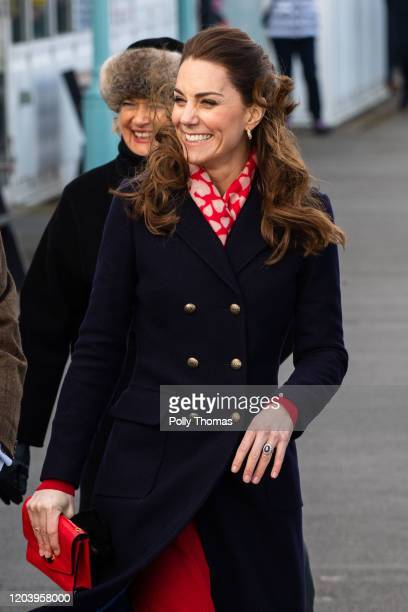 Catherine, Duchess of Cambridge arrives at the RNLI lifeboat station on Mumbles Pier on February 4, 2020 in Swansea, Wales.