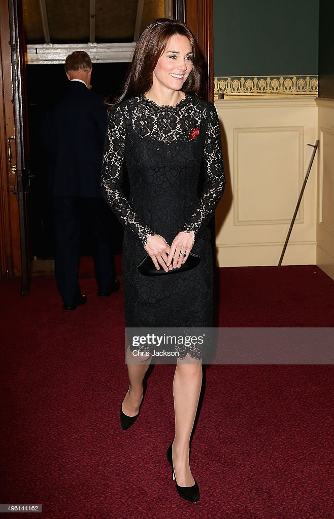 Catherine, Duchess of Cambridge arrives at the Royal Albert Hall for the Annual Festival of Remembrance on November 7, 2015 in London, England.