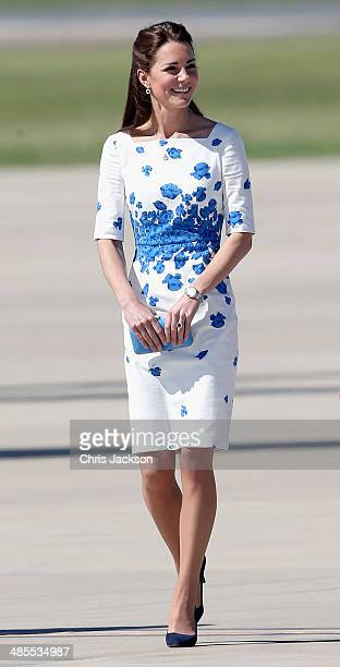 Catherine Duchess of Cambridge arrives at the Royal Australian Airforce Base at Amberley on April 19 2014 in Brisbane Australia The Duke and Duchess...