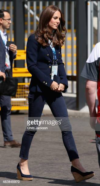 Catherine Duchess of Cambridge arrives at the SECC Hydro for the Gymnastics as she attends Commonwealth games on July 28 2014 in Glasgow Scotland