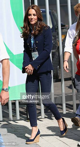 Catherine Duchess of Cambridge arrives at the SECC Hydro for the Gymnastics during the 20th Commonwealth Games on July 28 2014 in Glasgow Scotland