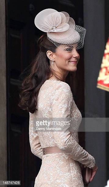 Catherine Duchess of Cambridge arrives at the Service of Thanksgiving at St Paul's Cathedral as part of the Diamond Jubilee marking the 60th...