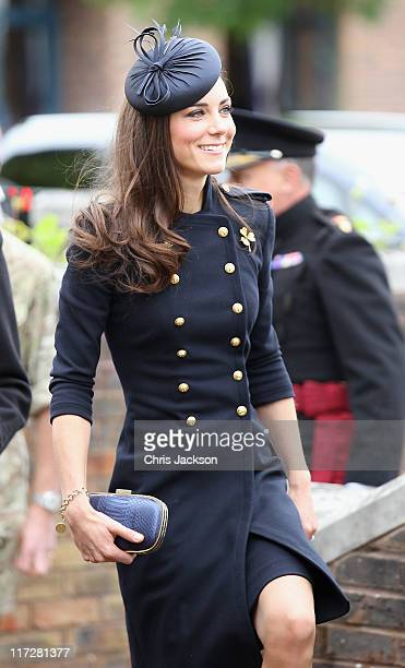 Catherine, Duchess of Cambridge arrives at the Victoria Barracks on June 25, 2011 in Windsor, England. The Duchess of Cambridge and Duke of Cambridge...