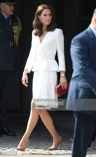 Catherine Duchess of Cambridge arrives at the Warsaw Rising Museum with Prince William Duke of Cambridge on day 1 of their offical visit to Poland on...