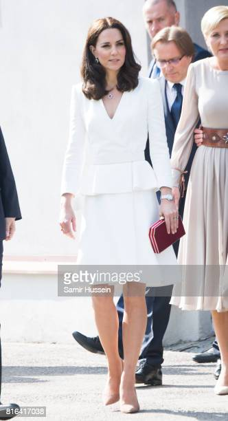 Catherine, Duchess of Cambridge arrives at the Warsaw Rising Museum with Prince William, Duke of Cambridge during an official visit to Poland and...