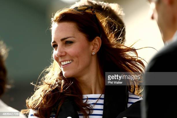 Catherine Duchess of Cambridge arrives at the Westpark Marina on a Sealegs amphibious marine craft at the Whenuapai RNZAF base on April 11 2014 in...
