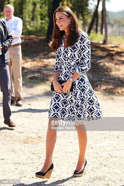 Catherine Duchess of Cambridge arrives at the Winmalee Guide Hall on April 17 2014 in Winmalee Australia The Duke and Duchess of Cambridge are on a...