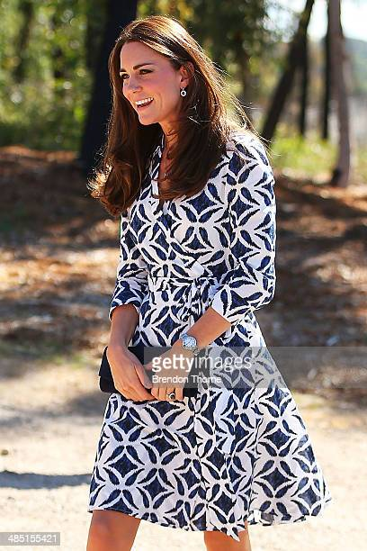 Catherine, Duchess of Cambridge arrives at the Winmalee Guide Hall on April 17, 2014 in Winmalee, Australia. The Duke and Duchess of Cambridge are on...